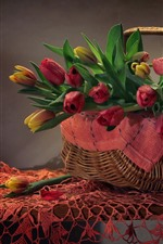 Basket, tulips, table, still life