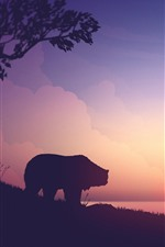 Preview iPhone wallpaper Bear and deers, mountains, sunset, art picture