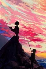 Bela foto de anime, menina e menino, mar, nuvens, pôr do sol