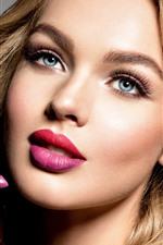 Beautiful blonde girl, face, red lip, lipstick