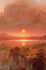 Beautiful nature landscape, mountains, smoke, sunset, waterfall, oil painting