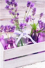 Preview iPhone wallpaper Beautiful purple lavender flowers, bottles, wood box