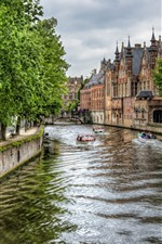 Belgium, Bruges, river, boats, city, houses