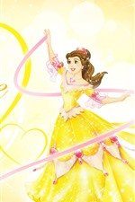 Preview iPhone wallpaper Belle, Princess, love heart, yellow skirt, Disney anime girl