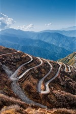 Preview iPhone wallpaper Bend road, mountains, village