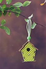 Preview iPhone wallpaper Birdhouse, twigs, leaves