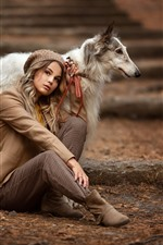 Blonde girl and dog, friends