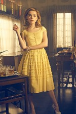 Preview iPhone wallpaper Blonde girl, yellow skirt, room interior
