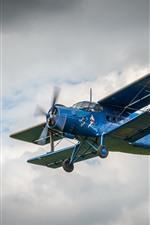 Preview iPhone wallpaper Blue biplane, sky, flight