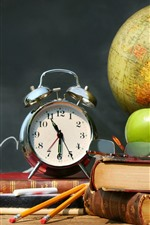 Books, alarm clock, glasses, globe, apple, pencil, classroom