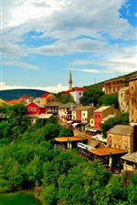 Preview iPhone wallpaper Bosnia and Herzegovina, Mostar, town, river, trees