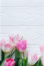 Preview iPhone wallpaper Bouquet, pink tulips, wood board