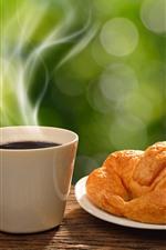 Preview iPhone wallpaper Bread, coffee, steam, breakfast