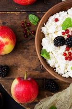 Preview iPhone wallpaper Breakfast, cheese, red apples, blackberries