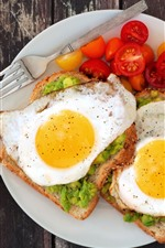 Breakfast, eggs, sandwich, tomatoes, avocado