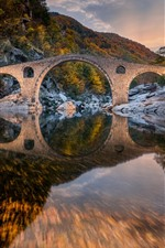 Bulgaria, Devil's Bridge, mountain, trees, river, water reflection, autumn