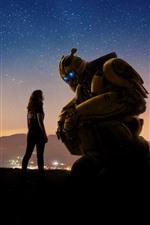 Bumblebee, menina e robô, estrelado, céu, noite