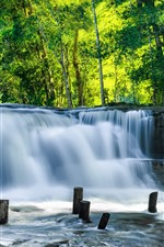 Preview iPhone wallpaper Cambodia, waterfalls, green trees
