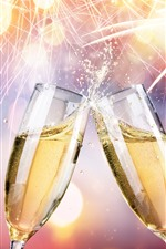 Preview iPhone wallpaper Champagne, cheers, fireworks, glass cups