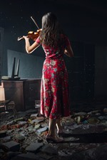 Preview iPhone wallpaper Chernobylite 2019, PC game, girl, back view, violin