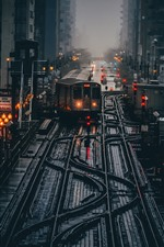 Preview iPhone wallpaper Chicago, USA, morning, train station