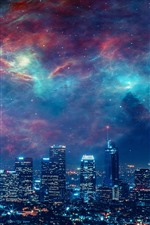 Preview iPhone wallpaper City, night, skyscrapers, lights, sky, galaxy, creative picture