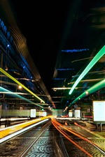 City, street, light lines, glare, night, speed