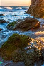 Coast, sea, rocks, arch, sun rays, water waves