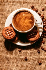 Coffee and coffee beans, cup, cookies