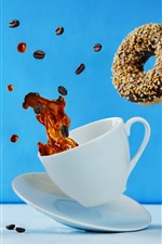 Coffee and donut fly, cup, moment
