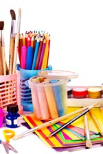 Preview iPhone wallpaper Colorful crayons and pencils, scissors, brushes