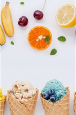Preview iPhone wallpaper Colorful ice cream, fruit, white background