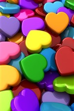 Colorful love hearts, 3D picture