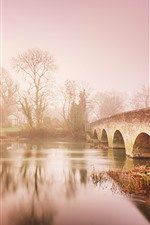 Preview iPhone wallpaper Countryside, river, bridge, trees, dawn, fog