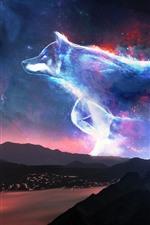 iPhone обои Креативный дизайн, волк, звезды, блеск, горы, побережье, ночь
