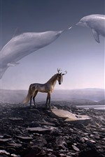Preview iPhone wallpaper Creative picture, deer horse, horns, whale flight in sky