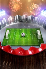 Preview iPhone wallpaper Creative picture, mini football ground, cover, fireworks