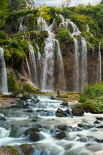Croatia, beautiful waterfall, Plitvice National Park