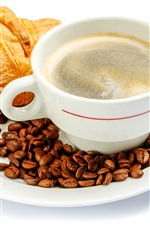 Preview iPhone wallpaper Croissant, coffee, cup, foam, white background