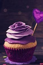 Cupcake, purple rose, cream, love hearts, romantic