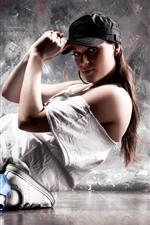 Dancing girl, cap, pose