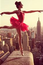 Dancing girl, red skirt, roof, city