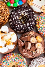 Preview iPhone wallpaper Delicious dessert, donuts, colorful