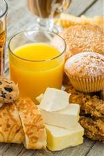 Delicious food, bread, cupcake, orange juice, cheese