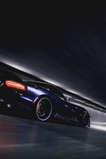 Preview iPhone wallpaper Dodge SRT Viper GTS blue supercar speed, tunnel