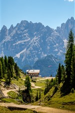 Dolomites, Italy, Alps, camp, trees