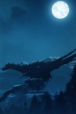 Dragon, night, moon, warrior, art picture