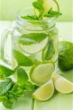 Drinks, green lemon, mint leaves