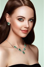 Fashion girl, green eyes, brown hair, necklace