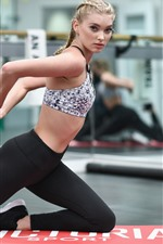 Preview iPhone wallpaper Fitness girl, pose, ball, gym